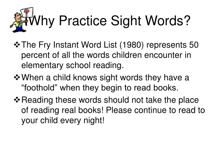 Why practice sight words