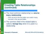 creating table relationships continued