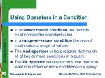 using operators in a condition
