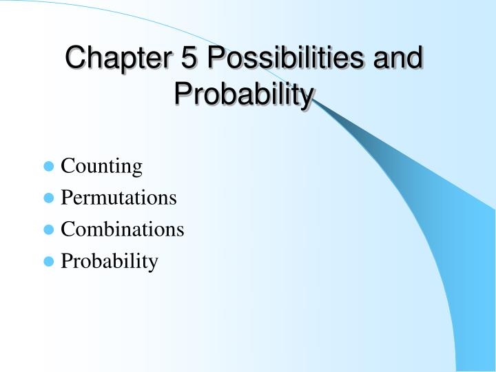 chapter 5 possibilities and probability n.