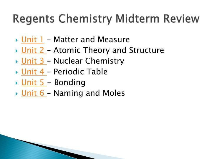 PPT Regents Chemistry Midterm Review PowerPoint