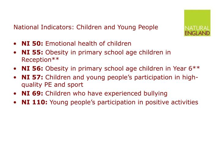 National Indicators: Children and Young People