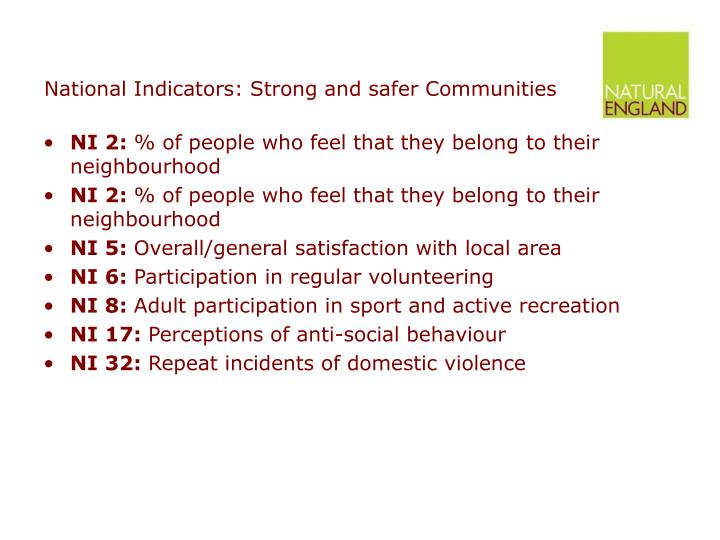 National Indicators: Strong and safer Communities