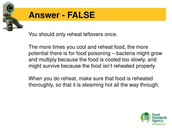 Answer false