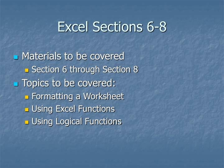 excel sections 6 8 n.