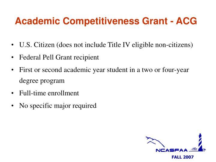 Academic Competitiveness Grant - ACG