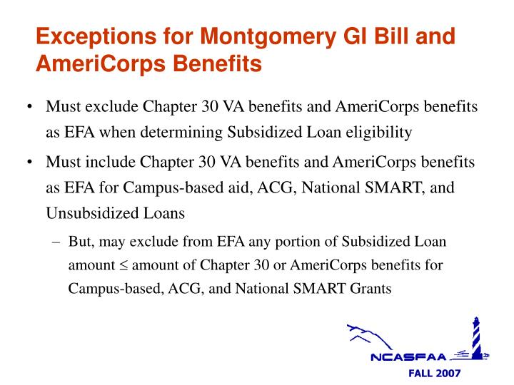 Exceptions for Montgomery GI Bill and AmeriCorps Benefits