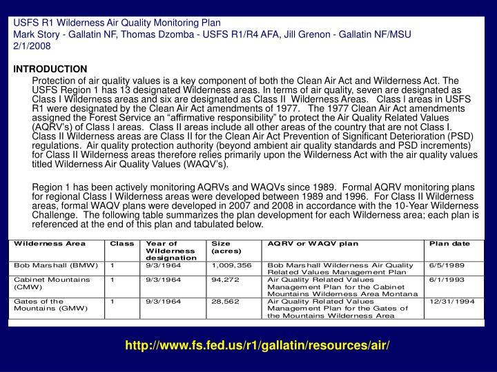 USFS R1 Wilderness Air Quality Monitoring Plan