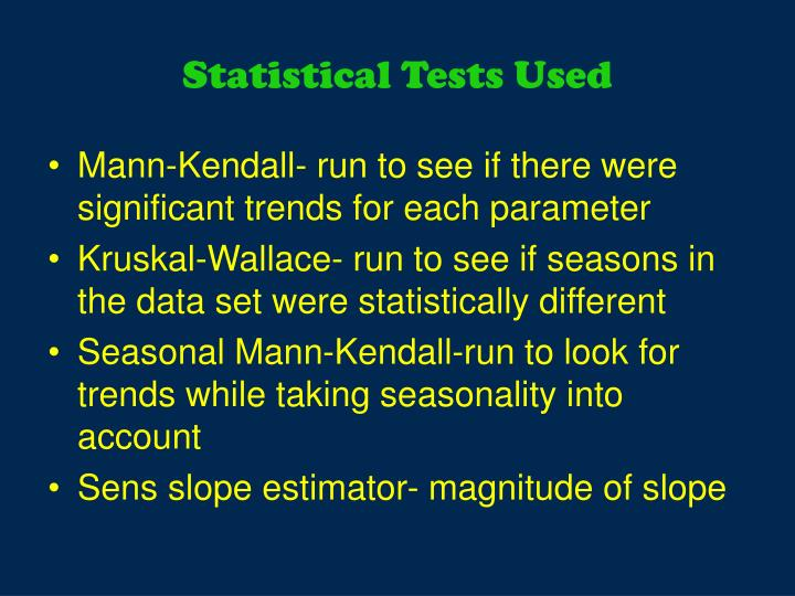 Statistical Tests Used