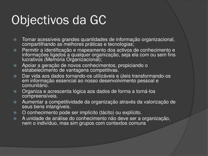 Objectivos da GC