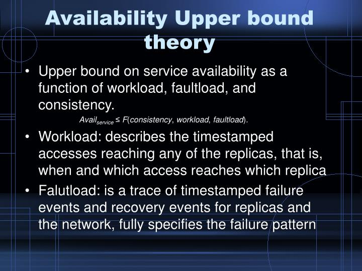 Availability Upper bound theory