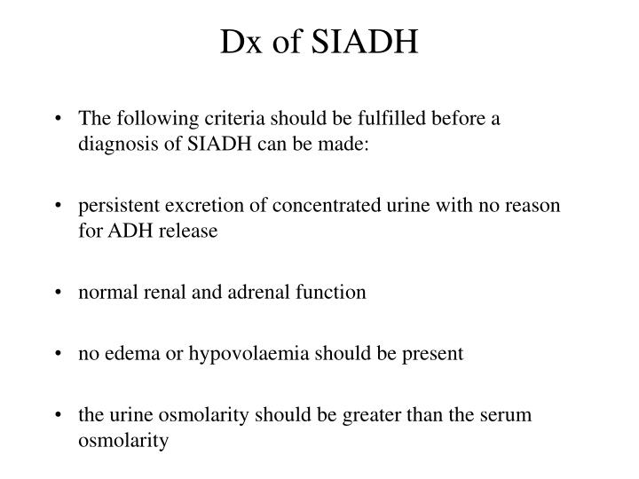 Dx of SIADH