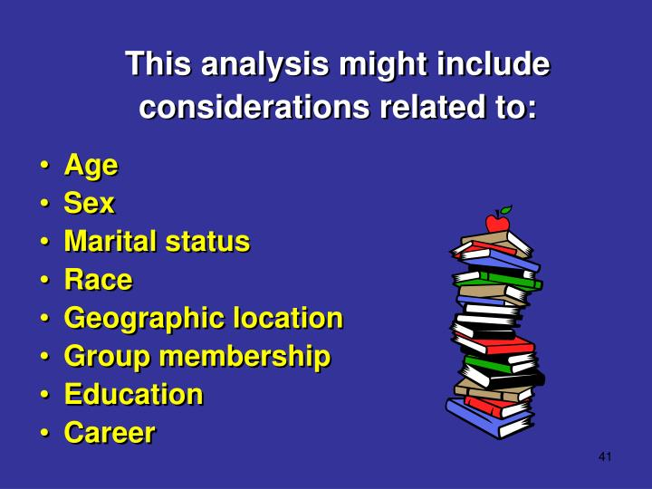This analysis might include considerations related to: