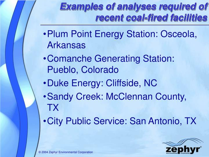 Examples of analyses required of