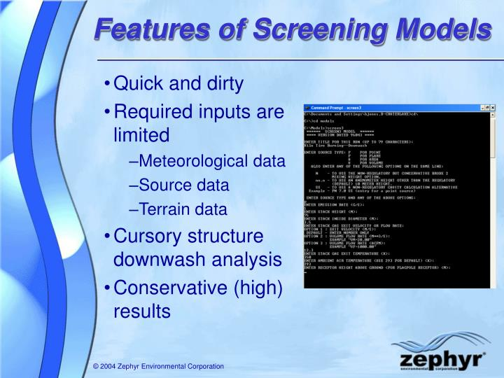 Features of Screening Models