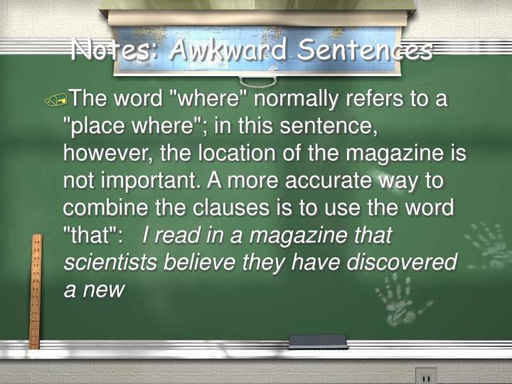 Notes: Awkward Sentences