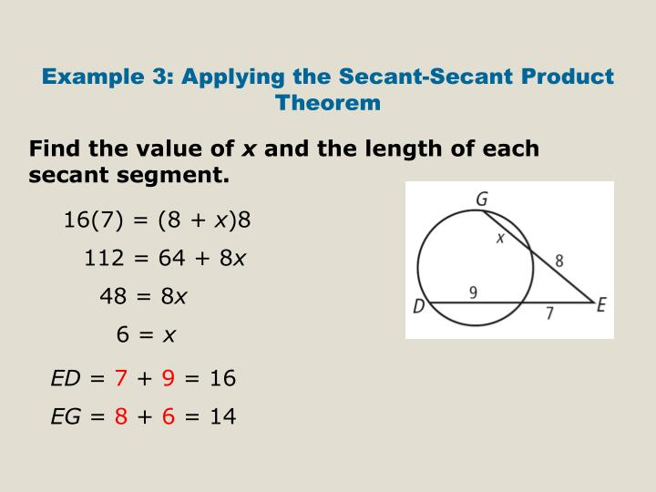 Example 3: Applying the Secant-Secant Product Theorem