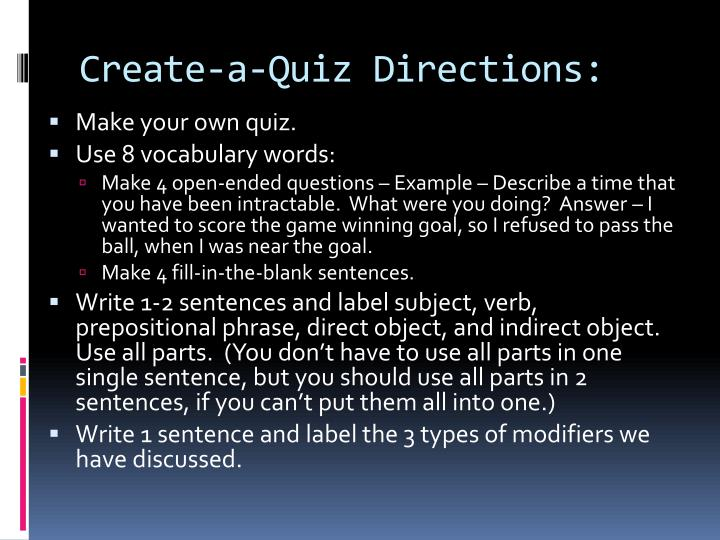 create a quiz directions