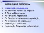 modulos da disciplina