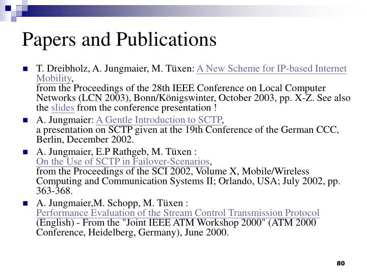 Papers and Publications
