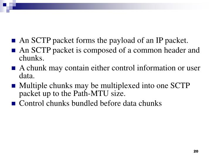 An SCTP packet forms the payload of an IP packet.
