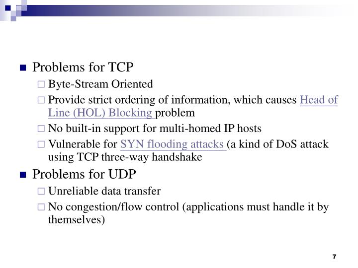 Problems for TCP