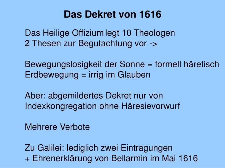 Das Dekret von 1616