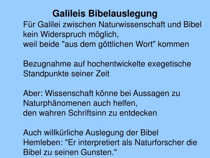 Galileis Bibelauslegung