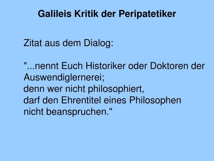 Galileis Kritik der Peripatetiker