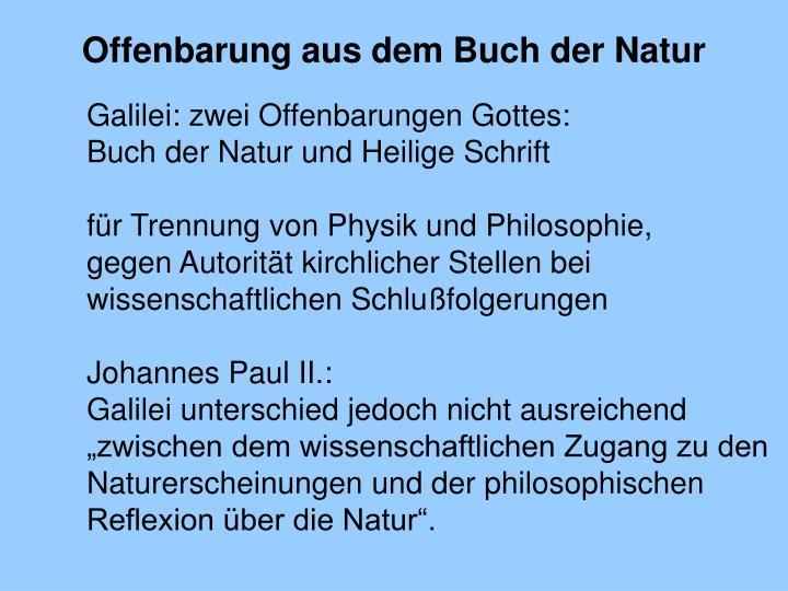 Offenbarung aus dem Buch der Natur