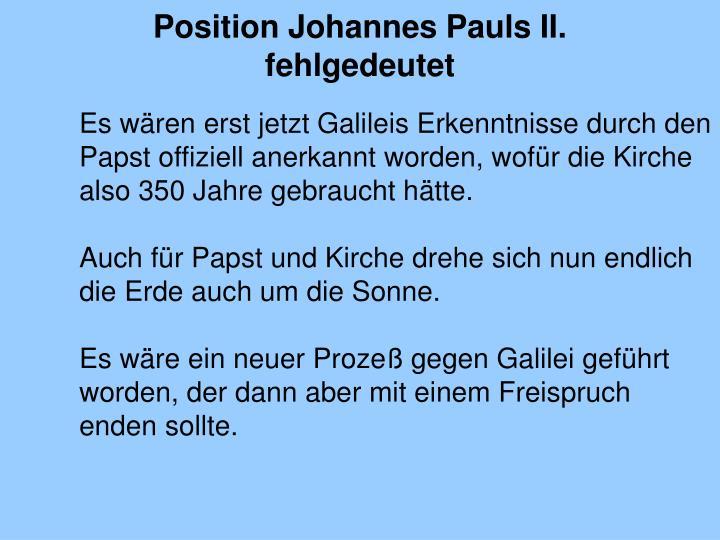 Position Johannes Pauls II. fehlgedeutet