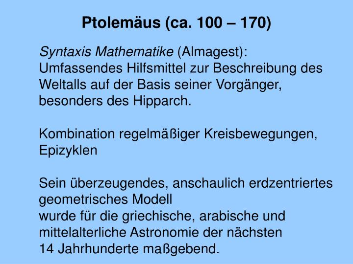 Ptolemäus (ca. 100 – 170)