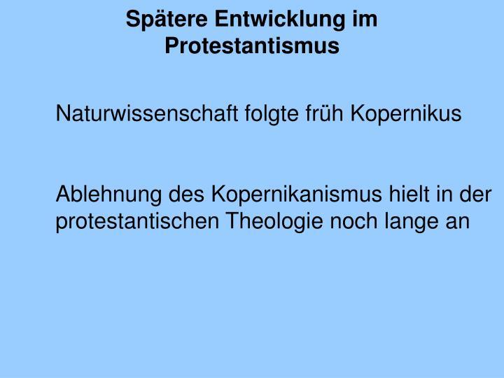 Spätere Entwicklung im Protestantismus