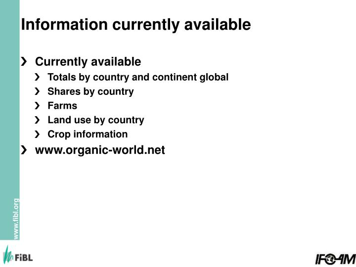 Information currently available