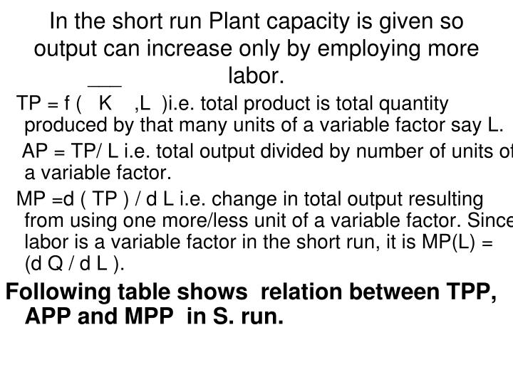 In the short run Plant capacity is given so output can increase only by employing more labor.