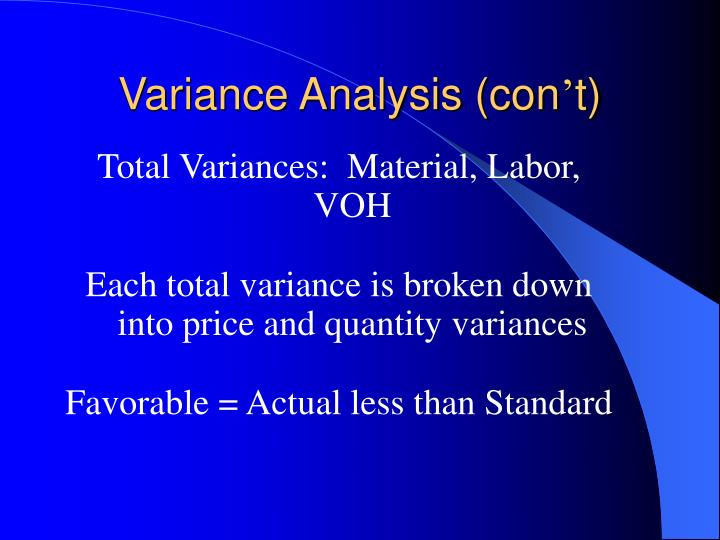 Variance Analysis (con