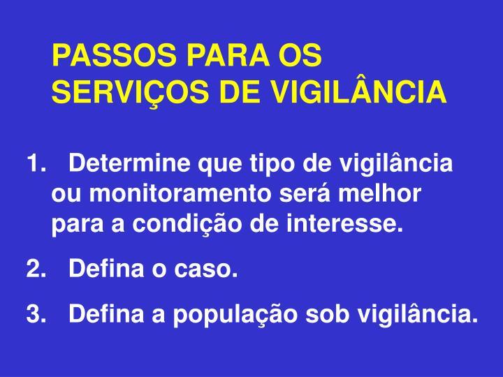 PASSOS PARA OS SERVIÇOS DE VIGILÂNCIA