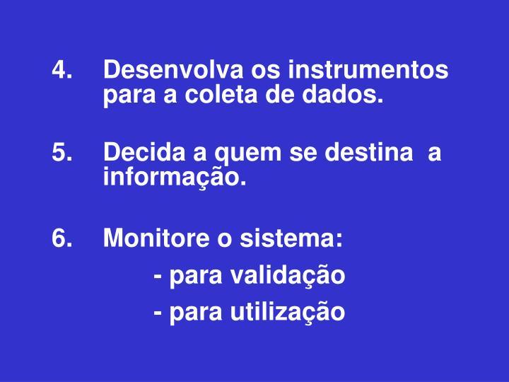 4. Desenvolva os instrumentos para a coleta de dados.