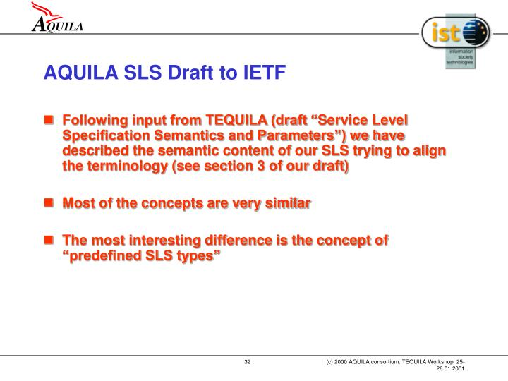 AQUILA SLS Draft to IETF