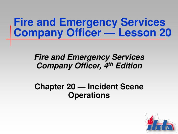 fire and emergency services company officer lesson 20 n.