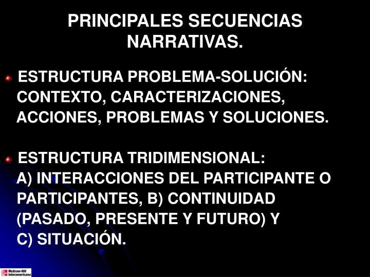 PRINCIPALES SECUENCIAS NARRATIVAS.