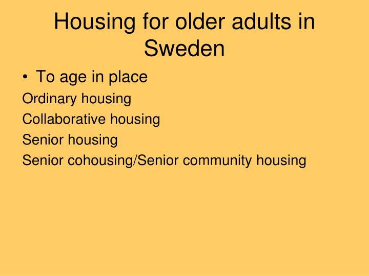 Housing for older adults in sweden