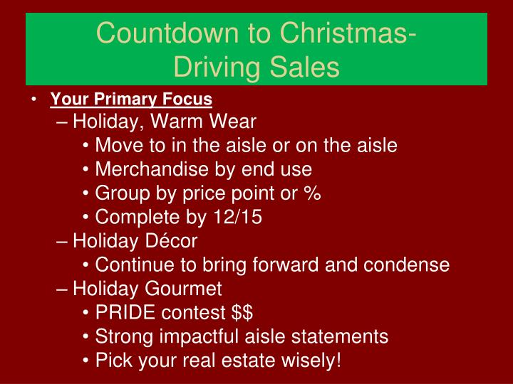 Countdown to christmas driving sales