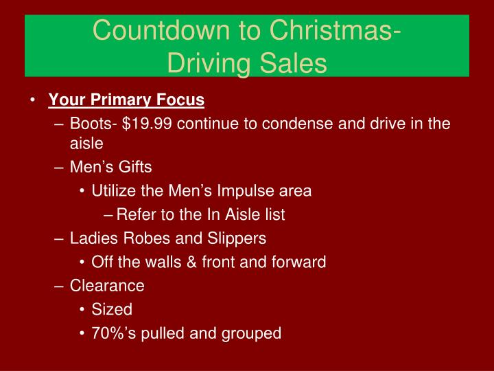 Countdown to christmas driving sales1