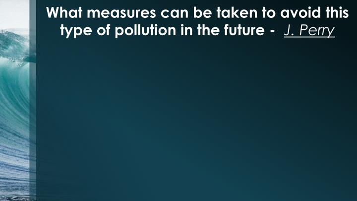 What measures can be taken to avoid this type of pollution in the future -