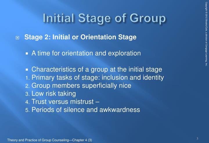 initial stages of group therapy Answer #5four stages when a psychodramatist thinks of a psychodrama, the phases of warm-up, action, and sharing come to mind but moreno defined group (called audience) stages in psychodrama first volume (1946: 327) as.