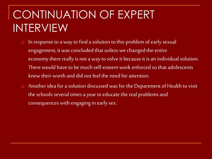 CONTINUATION OF EXPERT INTERVIEW