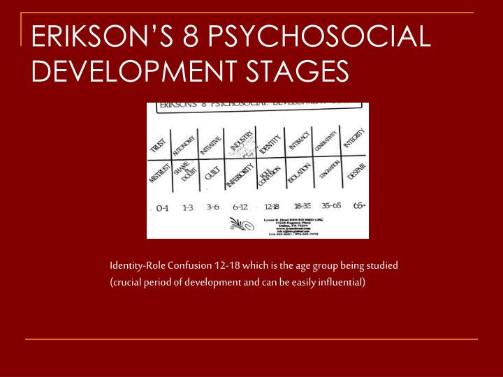 ERIKSON'S 8 PSYCHOSOCIAL DEVELOPMENT STAGES
