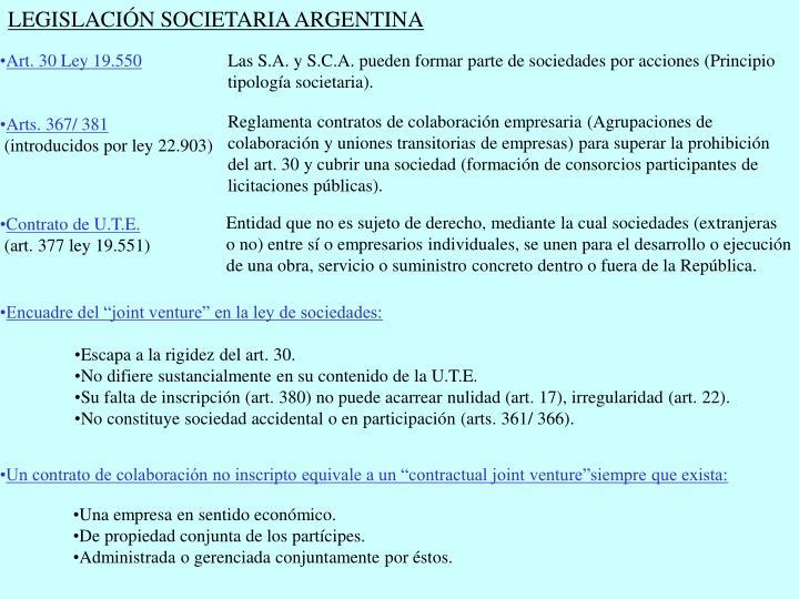 LEGISLACIÓN SOCIETARIA ARGENTINA