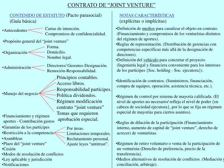 """CONTRATO DE """"JOINT VENTURE"""""""
